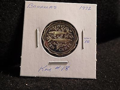 Bahama Islands: 1972  10 Cents   Coin  Proof Cameo  (Unc.)(#2421)  Km # 18