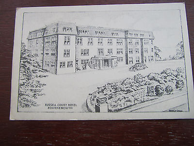 Bournemouth Russell Court Hotel  1953 Pencil Sketch old postcard