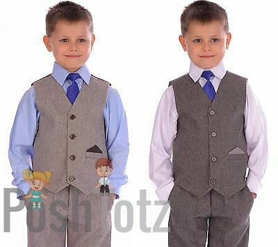 Boys suit Herringbone Suits Wedding, Pageboy, Formal 4pc Brown, Grey, Poshtotz