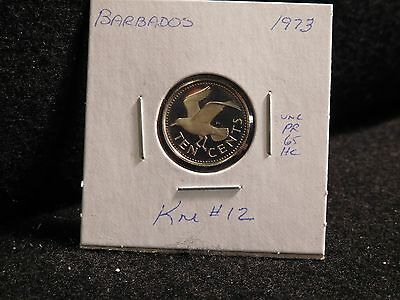 Barbados:   1973   10 Cent  Coin   Proof Hc  (Unc.)    (#2400)  Km # 12