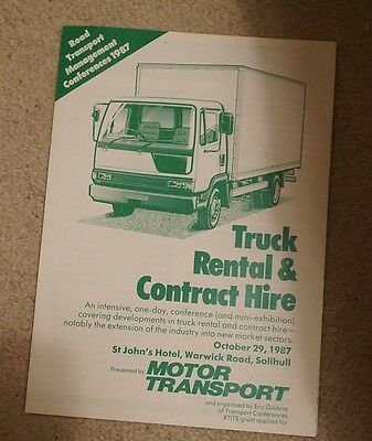 1987 Truck Rental & Contract Hire Flyer Leaflet Brochure Exhibition Lorry