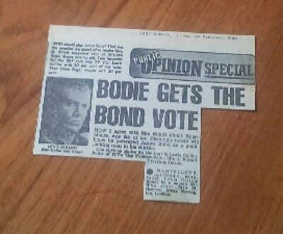 Lewis Collins should be the next James Bond Letter in Newspaper 1980s