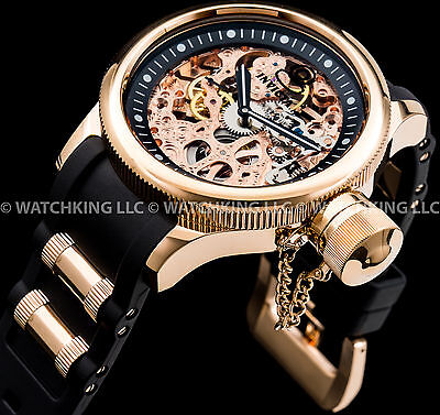 Invicta 52mm Russian Diver MECHANICAL 18K Rose Gold Plated S.S Chrono Poly Watch