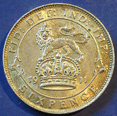 1911 6d George V silver Sixpence in a lovely high grade