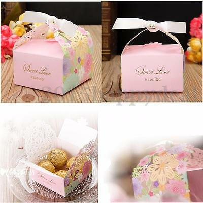 Wedding Favour Favor Sweet Cake Gift Candy Boxes Bags Anniversary with Ribbon