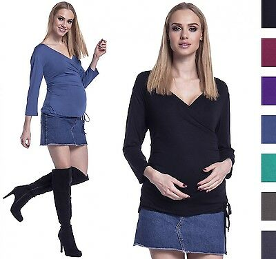 Happy Mama. Women's Pregnancy Top Layers 3/4 Sleeves V-neckline Maternity. 902p