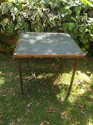 Vintage (or antique?) very old FOLDABLE TABLE_with leather? top
