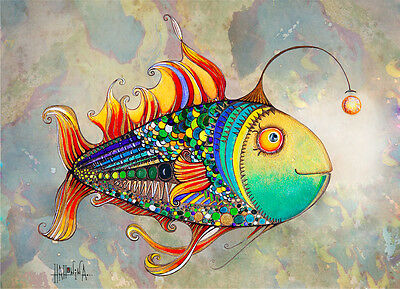 ACEO Firefly Fish Limited Edition Print of Original Painting by Xenia Hahonina