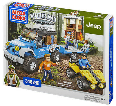 Mega Bloks World Builders Jeep Forest Expedition 344Pce Brand New In Box 97806