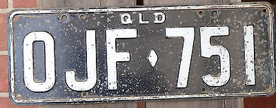 License Plate Number Plate QLD White on Black worn paint   Heavy  OJF 751