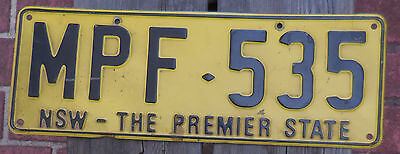License Plate Number Plate NSW PREMIER STATE  MPF 535