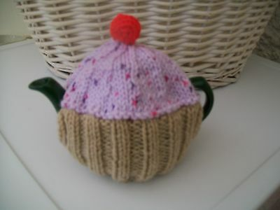 Hand Knitted Cupcake Tea Cosy For A Small Teapot