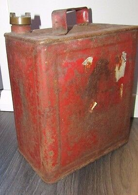 """Genuine Vintage Red Valor 7 Petrol Fuel Can Solid great for Classic Car 11"""" Tall"""