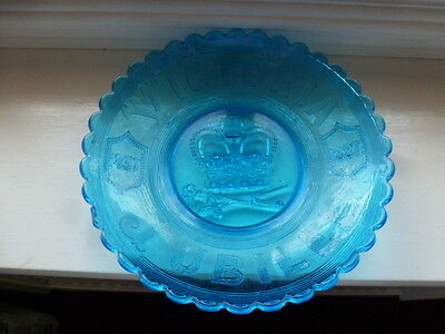 Queen Victoria Pressed Blue Glass 1837 To 1887 Jubilee
