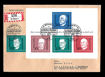 Germany 1968 Adenauer Comm M/s On Fdc