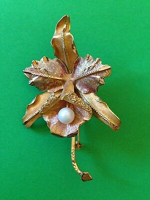 Antique Vintage South American 18ct Gold and Pearl Flowe Leaf Brooch