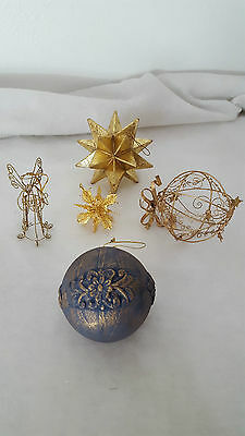 Lot Of 5 Golden Xmas Multi-Dimensional Ornaments; Stars; Round Orbs; Wire Angel
