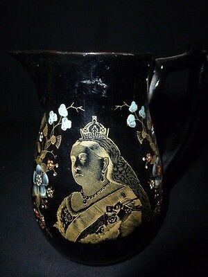 Queen Victoria Black Pottery Jug - THE 60th YEAR REIGN