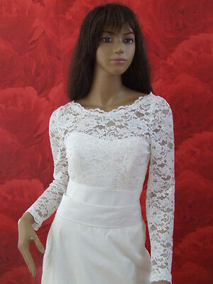 NEW Ivory Lace Bolero Shrug Wedding Jacket Long Sleeve - K33