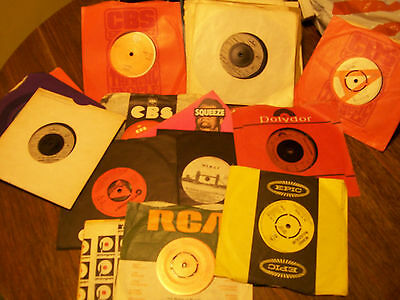 "Job lot collection of vinyl records 45 RPM 7"" singles. Wings, Abba, Squeeze etc."