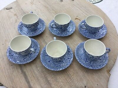 Burleigh Scilla 6 Cups and Saucers Blue and White China Vintage 80's