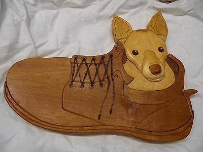 Chihuahua Dog Carved Wooden Wall Art Hanging Handmade