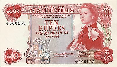 [low A/1 000155 ] 1967 Mauritius P31a 10 Rupees  Queen fancy serial number UNC