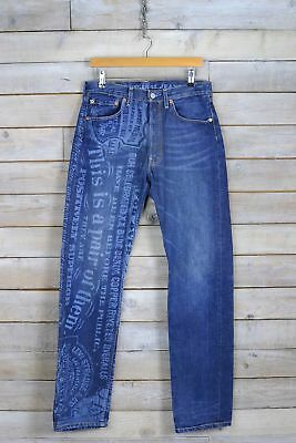 Vintage Levi's Dark Blue Limited Edition Rare 501 Straight Leg Jeans (W32 L34)