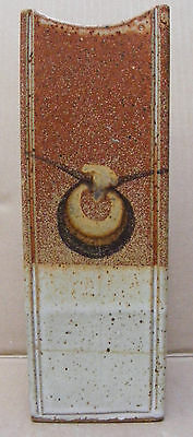 Signed Art Pottery Square Vase With Crescent Motif