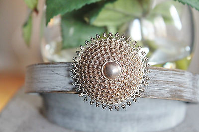 Vintage Cannetille Wire Work 950 Sterling Silver Dome Brooch ~ 13.2 G