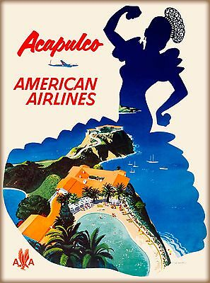 Acapulco Mexico American Airlines Mexican Travel Advertisement Art Poster