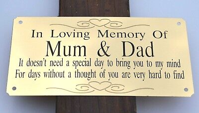 "Memorial Bench Plaque Solid Brass Grave Marker Sign 6""X3"" Personalised Engraved"