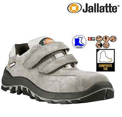 Mens Jallatte Leather Lightweight Safety Composite Toe Cap Work Shoes Trainers