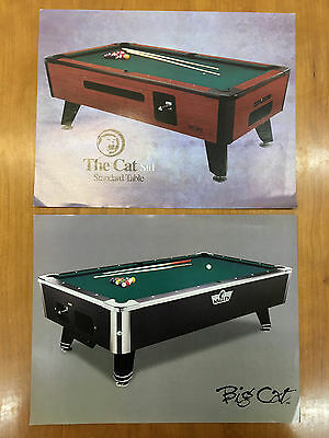 Lot of 2 Valley Pool Table Advertising Brochures/Flyers - The Cat Std & Big Cat