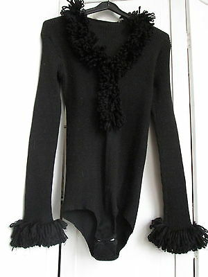 Vintage Charnos Black Body All In One Jumper Top Evening Party Burlesque