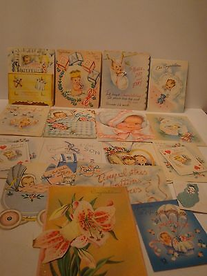 Vtg Lot of 17 Congratulations First Baby Greeting Card