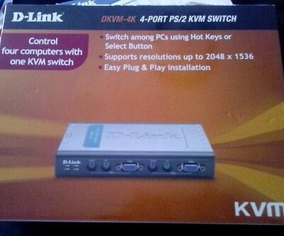 D-LINK DKVM-4K 4 Port KVM Switch with 2X6FT connecting cables