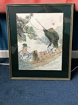 Wonderful Vintage Asian/Chinese two men fishing in picture in frame