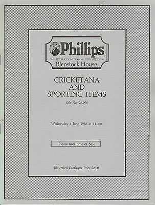 PHILLIPS. Cricketana and Sporting Items illustrated catalogue... 4 June 1986