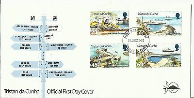 FDC Tristan Da Cunha, New Harbour Construction stamps; 1996; signpost