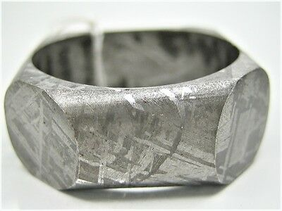size 13 GIBEON IRON NICKEL SPECIAL CUT METEORITE RING - Original Natural Color