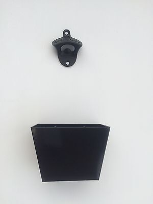 Wall Mounted Black Bottle Opener in Cast Iron with Cap Catcher, Open beer here