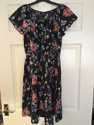 New Look Black Floral Maternity Dress Size 10