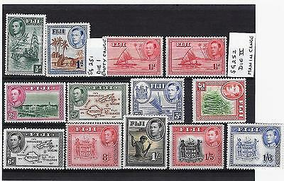 """Fiji. 1938-49 COMMONWEALTH 13 STAMPS INCLUDES THE """"EMPTY CANOE"""" DIE1 VARIETY"""