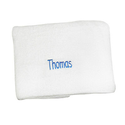 Personalised WHITE BATH TOWEL Childrens Boys Beach Holiday House Warming Towel
