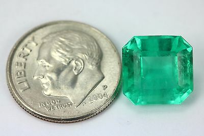 5.04cts Rare Bluish Green Loose Colombian Emerald Asher Cut Muzo Gemstone