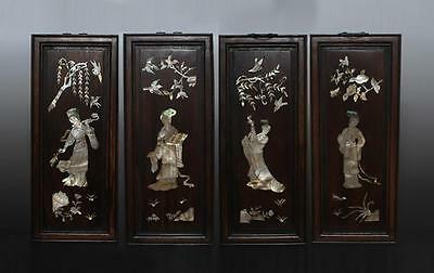Four Antique Chinese Rosewood With Shell Plate Panel 45cm 120