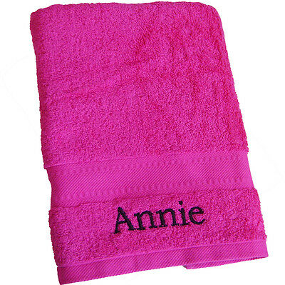 Personalised HOT PINK BATH TOWEL Childs Girls Beach Holiday Gym New Home Towel