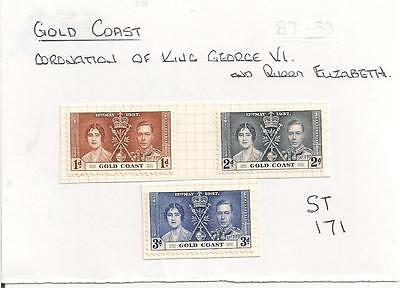 ST-171    3.Stamps.   Gold Coast.    Coronation of King George VI