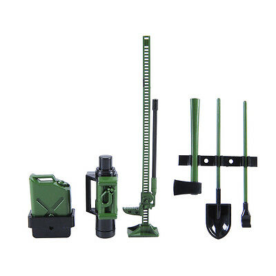 1/10th Scale RC Rock Crawler Truck Accessories Tool Set Axe Spade Jack Green